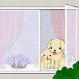 2012窓辺のワンちゃん親子
