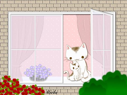 2012窓辺の猫ちゃん親子