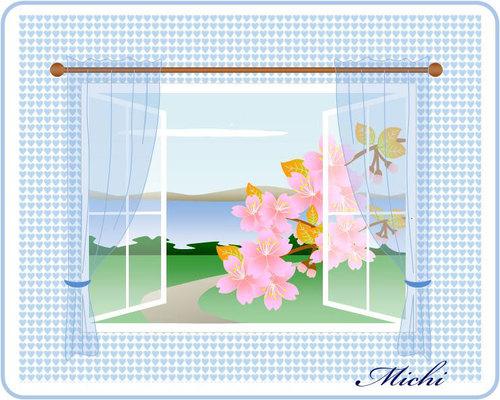 窓辺からの桜