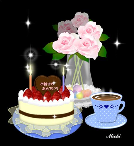2012誕生ケーキとバラ