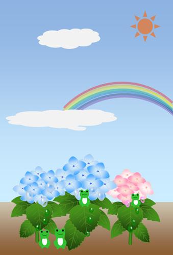 紫陽花と虹とカエルさん